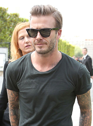 David Beckham wearing wayfarers