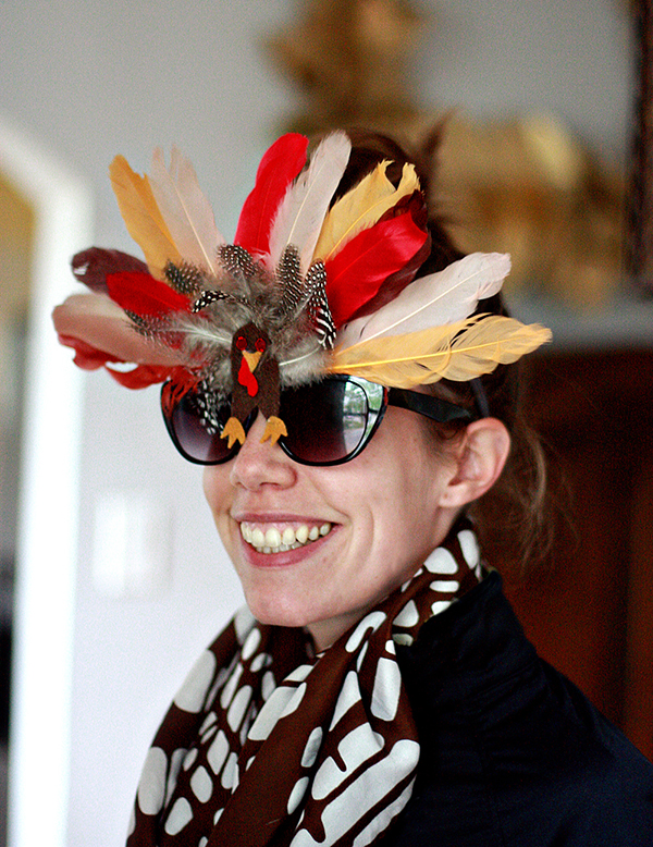 Aunt Peaches in the finished turkey glasses