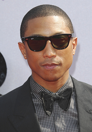 Pharrell Williams in wayfarer sunglasses