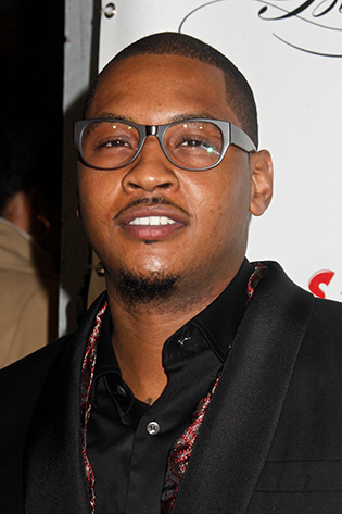 Carmelo Anthony in clear wayfarer glasses