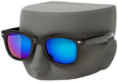 Folding Mirrored Wayfarer Style Sunglasses