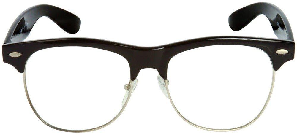 Glasses With No Frame At The Bottom : Non-Prescription Clear Browline Glasses