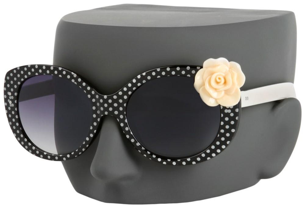 Oversized Polka Dot Sunglasses with Flower Embellishment