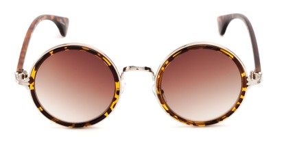 mixed material round sunglasses