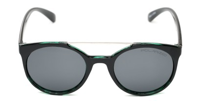 Front of Milo #6928 in Black/Green Frame with Grey Lenses