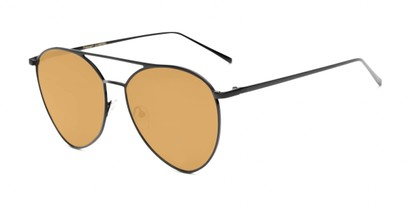 Angle of Acorn #3146 in Black Frame with Gold Mirrored Lenses, Women's and Men's Aviator Sunglasses