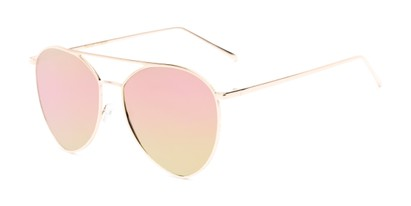 Angle of Acorn #3146 in Gold Frame with Purple Mirrored Lenses, Women's and Men's Aviator Sunglasses