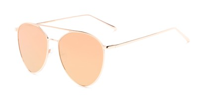 Angle of Acorn #3146 in Rose Gold Frame with Pink Mirrored Lenses, Women's and Men's Aviator Sunglasses