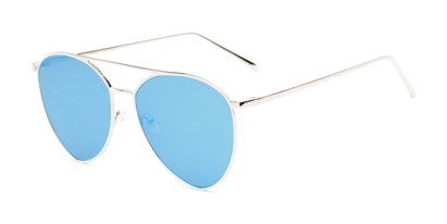 Angle of Acorn #3146 in Silver Frame with Blue Mirrored Lenses, Women's and Men's Aviator Sunglasses