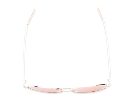 Overhead of Acorn #3146 in Rose Gold Frame with Pink Mirrored Lenses