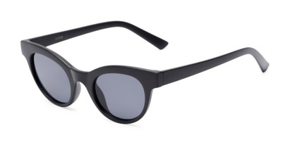 Angle of Ada #1619 in Matte Black Frame with Grey Lenses, Women's Cat Eye Sunglasses