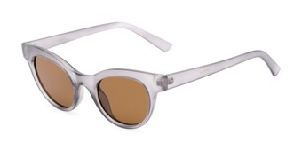 Angle of Ada #1619 in Matte Grey Frame with Amber Lenses, Women's Cat Eye Sunglasses