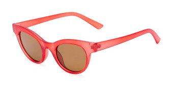 Angle of Ada #1619 in Matte Red Frame with Amber Lenses, Women's Cat Eye Sunglasses