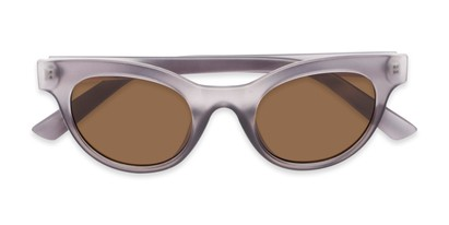 Folded of Ada #1619 in Matte Grey Frame with Amber Lenses