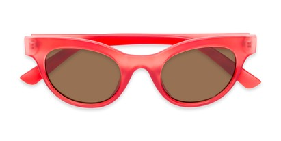 Folded of Ada #1619 in Matte Red Frame with Amber Lenses