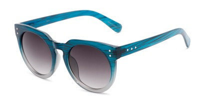 Angle of Addison #32032 in Blue Faded Frame with Smoke Lenses, Women's Round Sunglasses