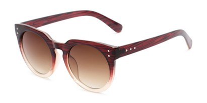 Angle of Addison #32032 in Brown Faded Frame with Amber Lenses, Women's Round Sunglasses