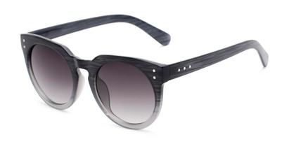 Angle of Addison #32032 in Black Faded Frame with Smoke Lenses, Women's Round Sunglasses