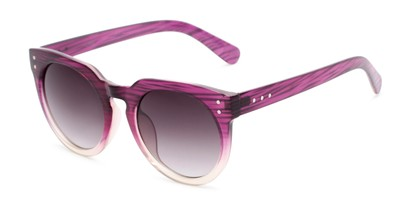 Angle of Addison #32032 in Purple Faded Frame with Smoke Lenses, Women's Round Sunglasses