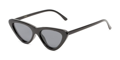 Angle of Adelaide #41623 in Black Frame with Smoke Lenses, Women's Cat Eye Sunglasses