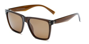 Angle of Aiden #54106 in Glossy Brown Frame with Amber Lenses, Women's and Men's Square Sunglasses