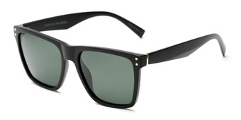 Angle of Aiden #54106 in Matte Black Frame with Green Lenses, Women's and Men's Square Sunglasses