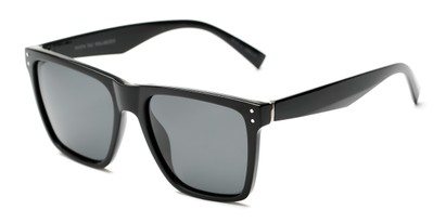 Angle of Aiden #54106 in Glossy Black Frame with Grey Lenses, Women's and Men's Square Sunglasses