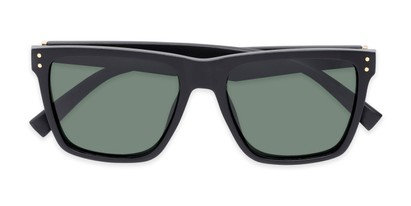 Folded of Aiden #54106 in Matte Black Frame with Green Lenses