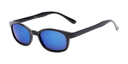 Angle of Aiken #1488 in Glossy Black Frame with Blue Mirrored Lenses, Women's and Men's Retro Square Sunglasses