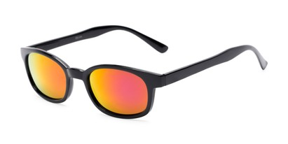 Angle of Aiken #1488 in Glossy Black Frame with Pink/Yellow Mirrored Lenses, Women's and Men's Retro Square Sunglasses
