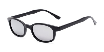 Angle of Aiken #1488 in Matte Black Frame with Silver Mirrored Lenses, Women's and Men's Retro Square Sunglasses
