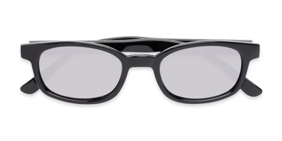 Folded of Aiken #1488 in Glossy Black Frame with Silver Mirrored Lenses