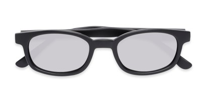 Folded of Aiken #1488 in Matte Black Frame with Silver Mirrored Lenses