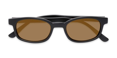 Folded of Aiken #1488 in Matte Black Frame with Gold Mirrored Lenses