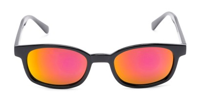 Front of Aiken #1488 in Glossy Black Frame with Pink/Yellow Mirrored Lenses