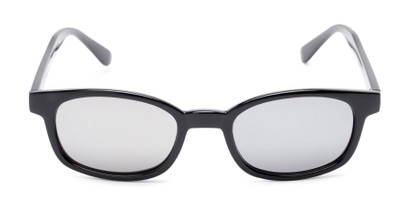 Front of Aiken #1488 in Glossy Black Frame with Silver Mirrored Lenses