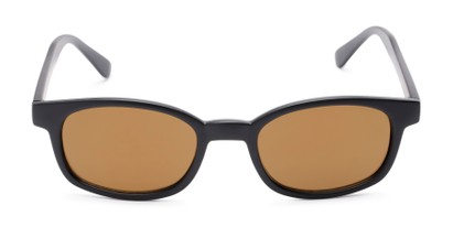 Front of Aiken #1488 in Matte Black Frame with Gold Mirrored Lenses