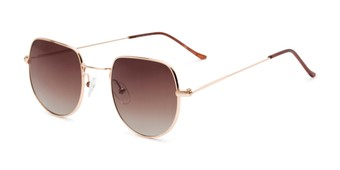 Angle of Aldo #7093 in Gold Frame with Amber Lenses, Women's and Men's Round Sunglasses