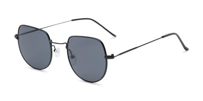 Angle of Aldo #7093 in Black Frame with Grey Lenses, Women's and Men's Round Sunglasses