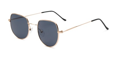 Angle of Aldo #7093 in Gold Frame with Grey Lenses, Women's and Men's Round Sunglasses