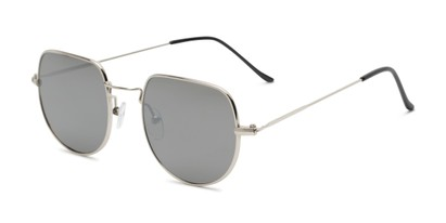 Angle of Aldo #7093 in Silver Frame with Silver Mirrored Lenses, Women's and Men's Round Sunglasses
