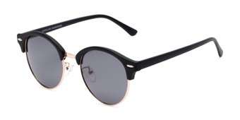 Angle of Allman #2025 in Matte Black Frame with Grey Lenses, Women's and Men's Round Sunglasses