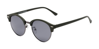 Angle of Allman #2025 in Matte Green Frame with Grey Lenses, Women's and Men's Round Sunglasses