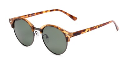 Angle of Allman #2025 in Glossy Tortoise Frame with Green Lenses, Women's and Men's Round Sunglasses