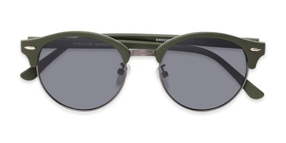 Folded of Allman #2025 in Matte Green Frame with Grey Lenses