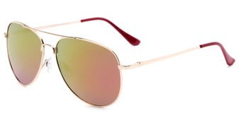 Angle of Amazon #2174 in Gold Frame with Pink/Yellow Mirrored Lenses, Women's and Men's Aviator Sunglasses