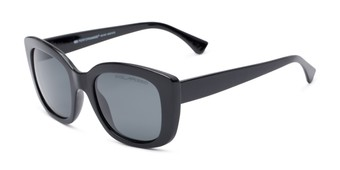 Angle of Amelia #6971 in Black Frame with Grey Lenses, Women's Square Sunglasses