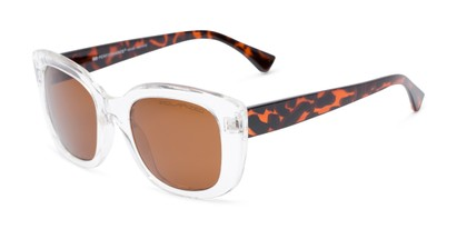 Angle of Amelia #6971 in Clear/Tortoise Frame with Amber Lenses, Women's Square Sunglasses