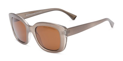 Angle of Amelia #6971 in Bronze Frame with Amber Lenses, Women's Square Sunglasses