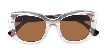 Folded of Amelia #6971 in Clear/Tortoise Frame with Amber Lenses